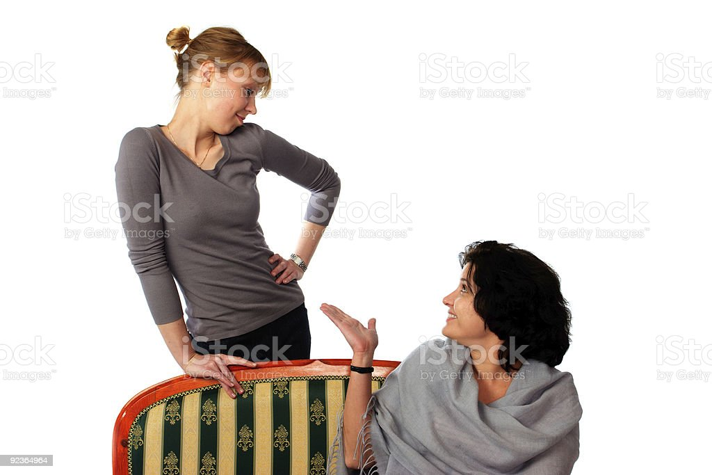 Two woman on a white royalty-free stock photo