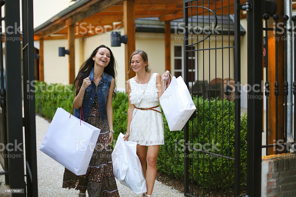 Two woman shopping royalty-free stock photo