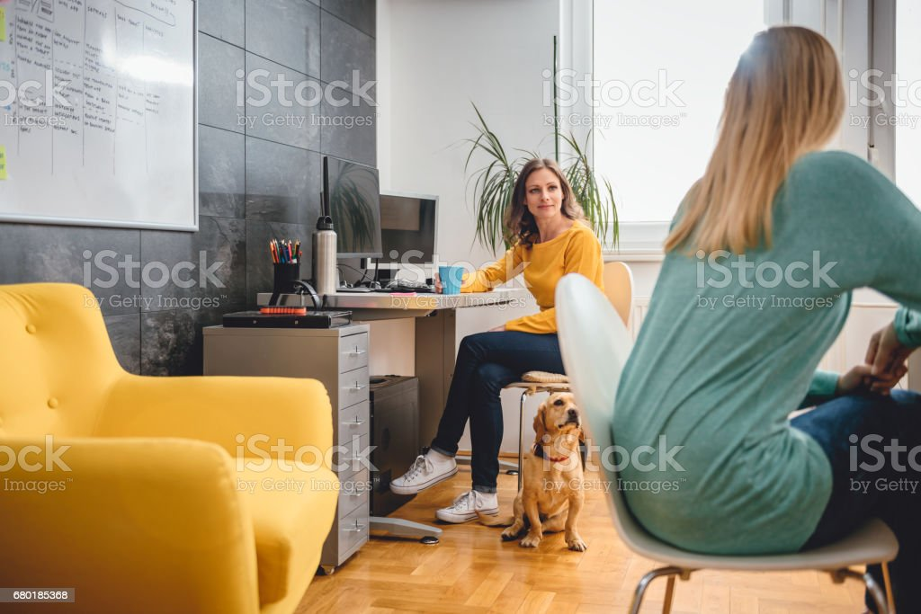 Two woman talking in the office stock photo