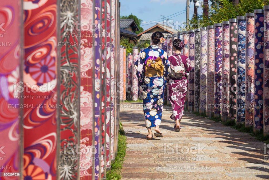 Two woman with kimonos walk through poles with traditional kimono cloth - foto stock