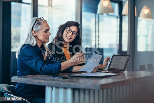 istock Two women analyzing documents at office 1018188310