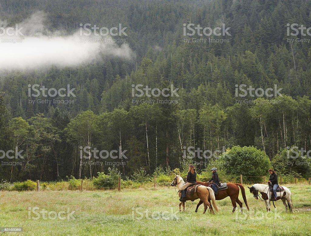 Due donne e una ragazza a cavallo sul campo foto stock royalty-free
