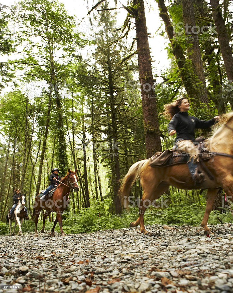 Two women and a girl riding horses on trail. royalty free stockfoto