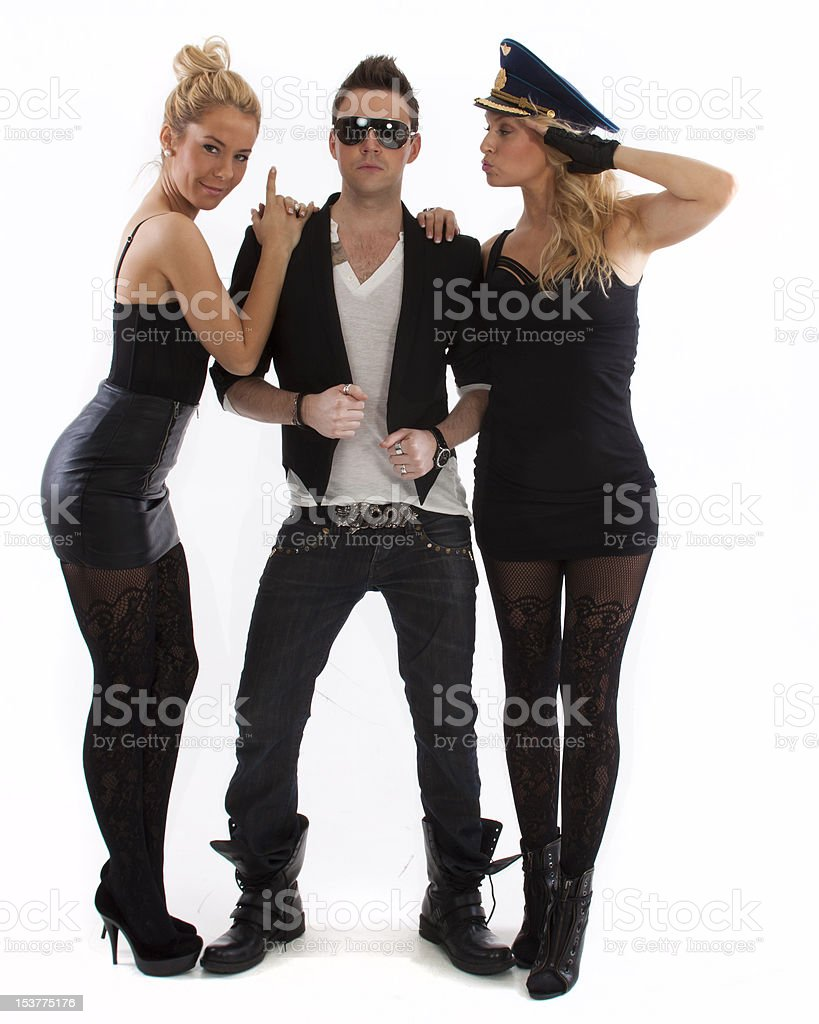 two women and a man in black royalty-free stock photo