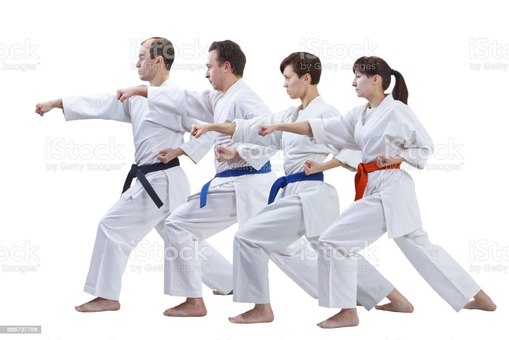 Two women and two men in karategi are training punch arm isolated foto stock royalty-free