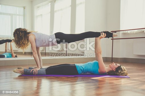 istock Two women are doing yoga indoors 518464056