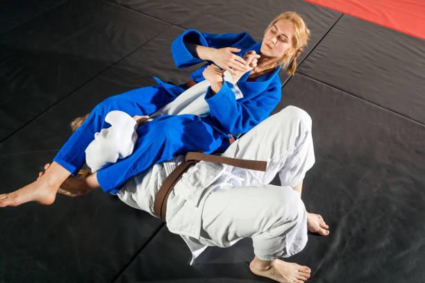 dos mujeres luchan en tatami - artes marciales fotografías e imágenes de stock