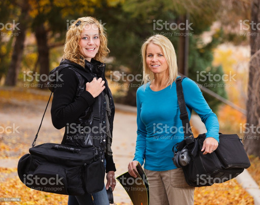 Two Women at the Shooting Range royalty-free stock photo