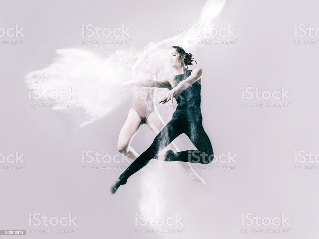 Two women ballet dancing with flour stock photo