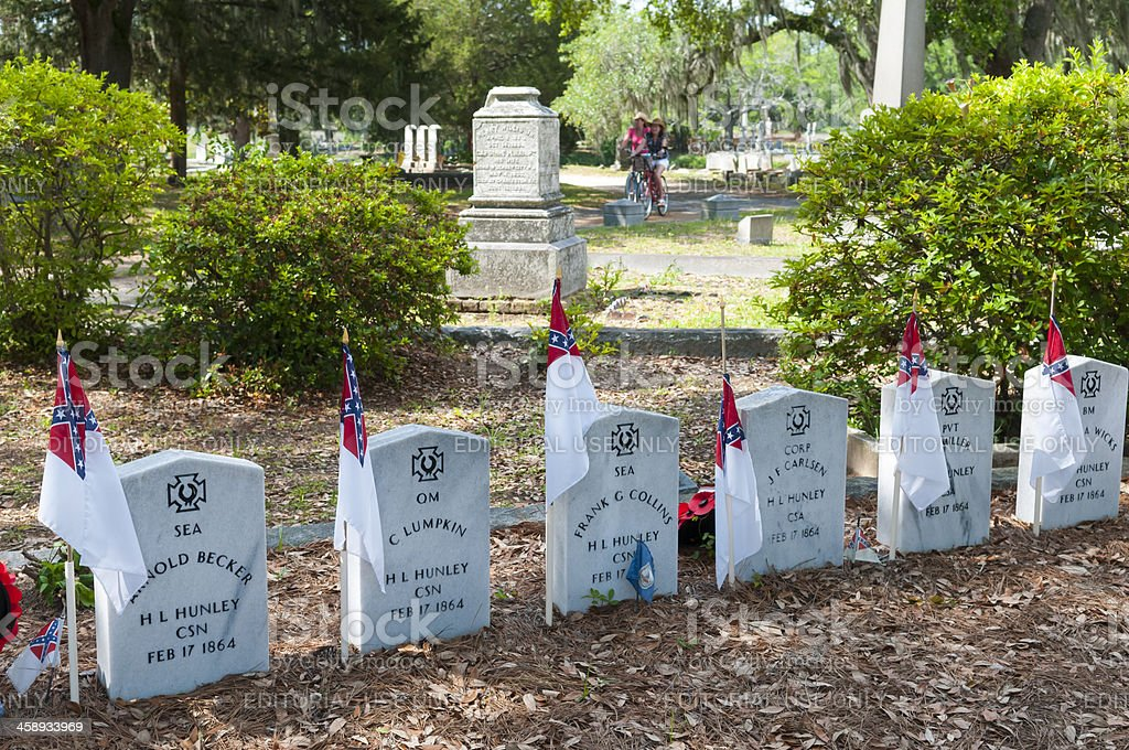 H.L. Hunley submarine graves at Magnolia Cemetery in Charleston royalty-free stock photo