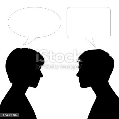 silhouette of profiles of two young white women face to face with vacant text bubbles
