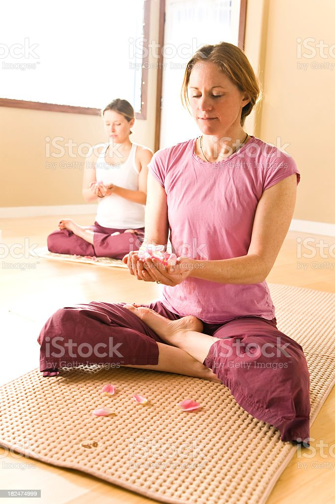 Two women doing Yoga in studio with morning light stock photo