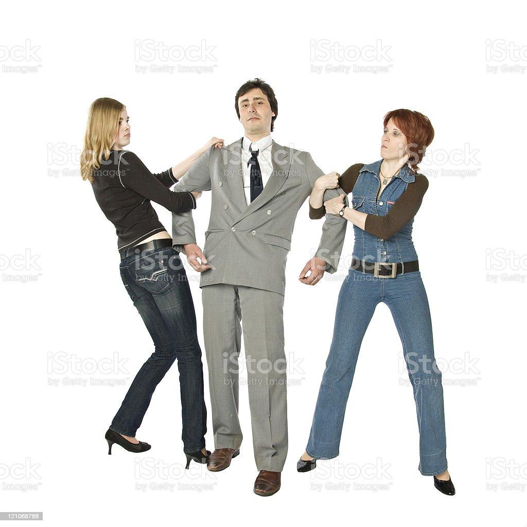 Two women fighting stock photo