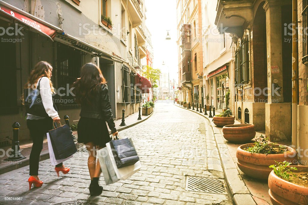 Two Women Hanging Around And Shopping stock photo