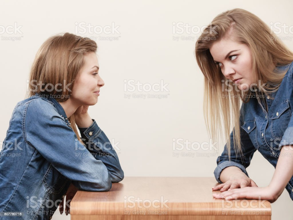 Two women having argue stock photo