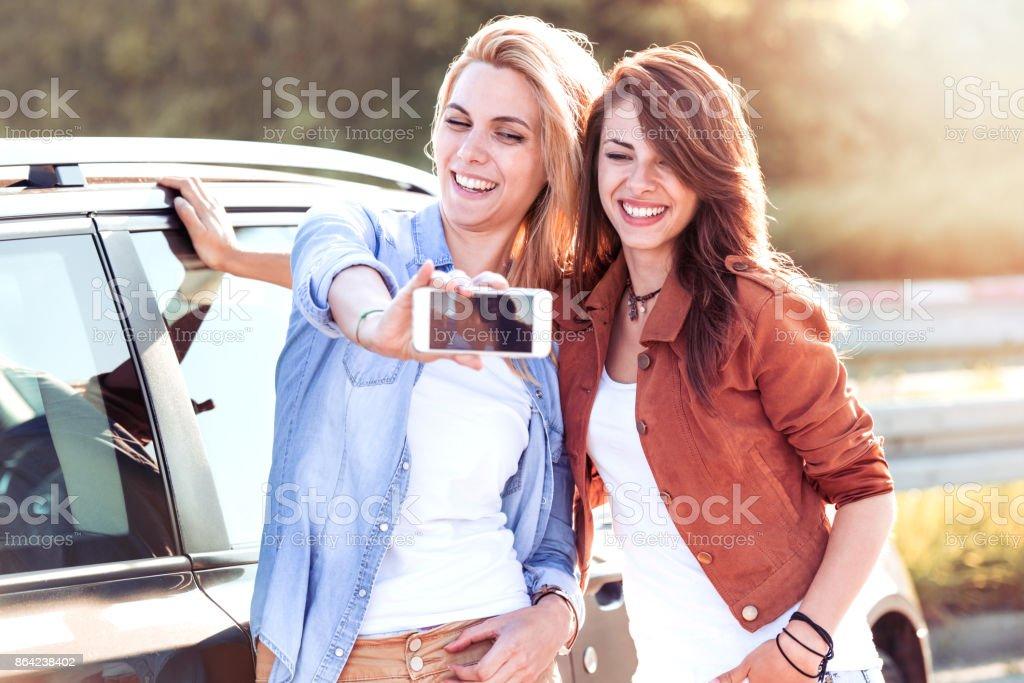 Two women having fun royalty-free stock photo