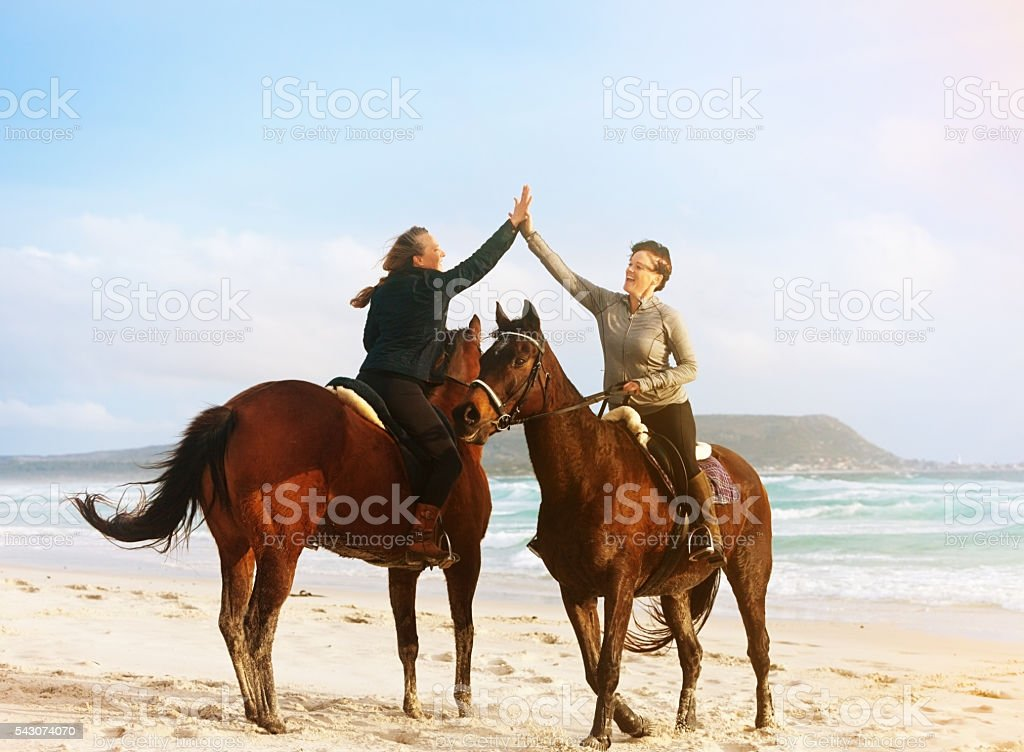 Two women horse riders greet each other on idyllic beach stock photo two women horse riders greet each other on idyllic beach royalty free stock photo m4hsunfo