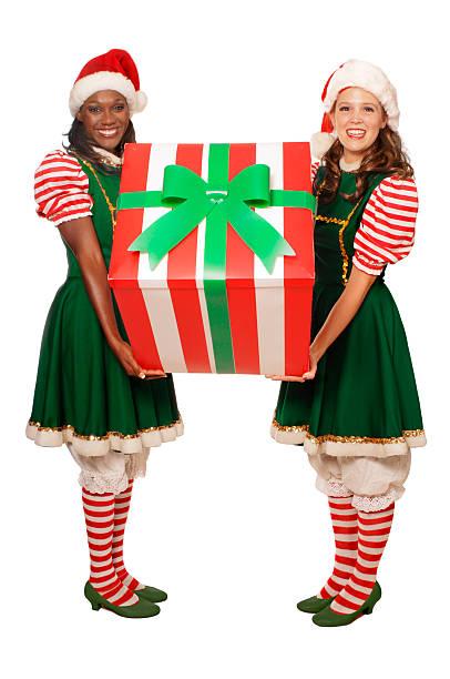 holiday geschenk - elfenkostüm damen stock-fotos und bilder