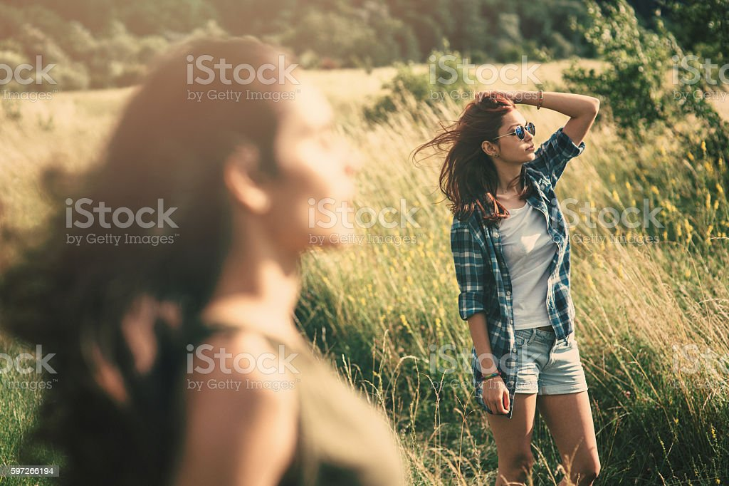 Two women in the fields royalty-free stock photo
