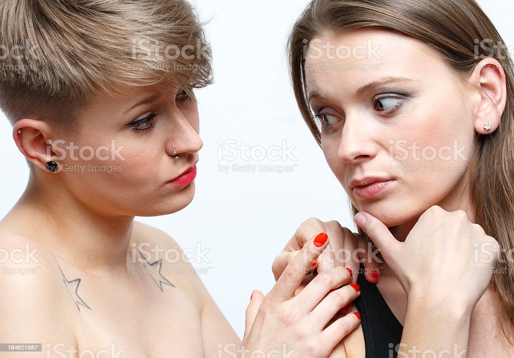 Two women looking each other royalty-free stock photo
