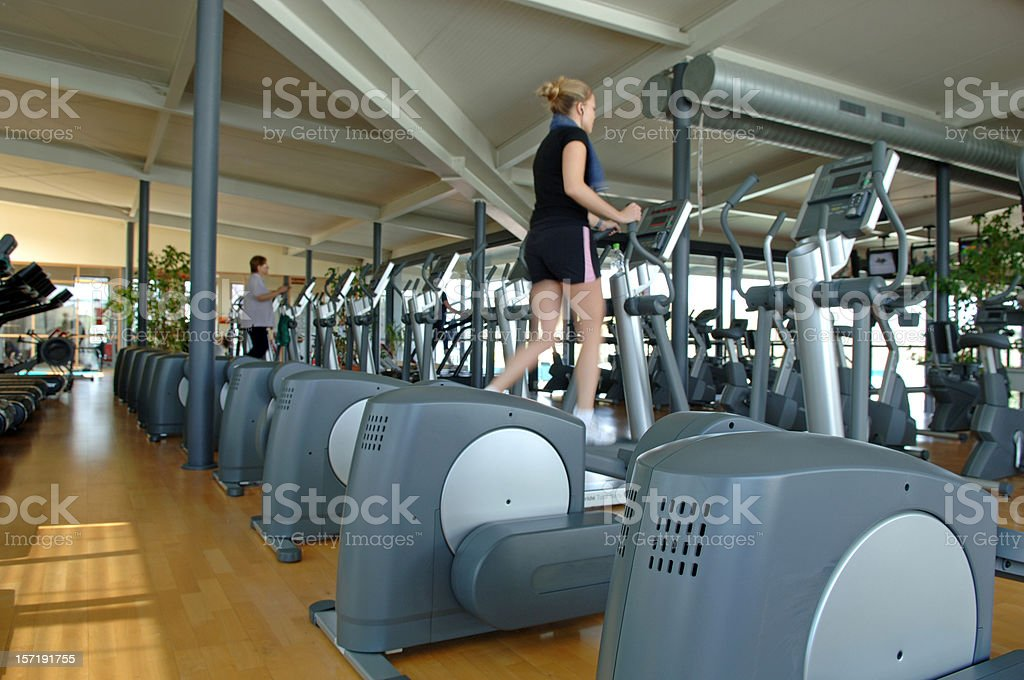 Two women on a stepper royalty-free stock photo
