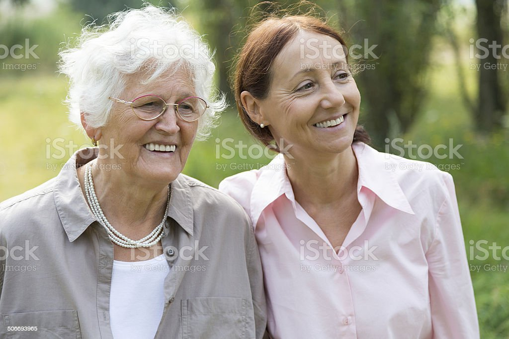 Two women outdoors royalty-free stock photo