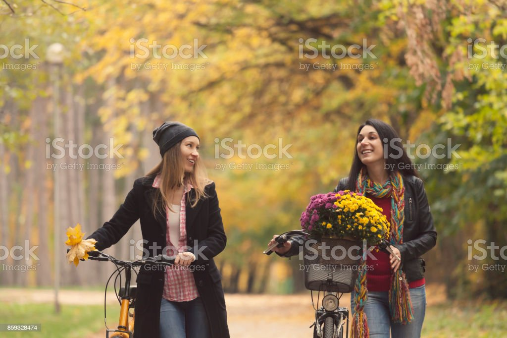 Two women pushing bikes in park and talking stock photo
