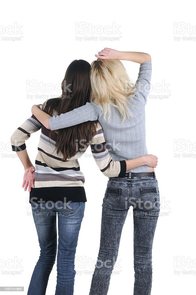 Two women. Rear view. royalty-free stock photo