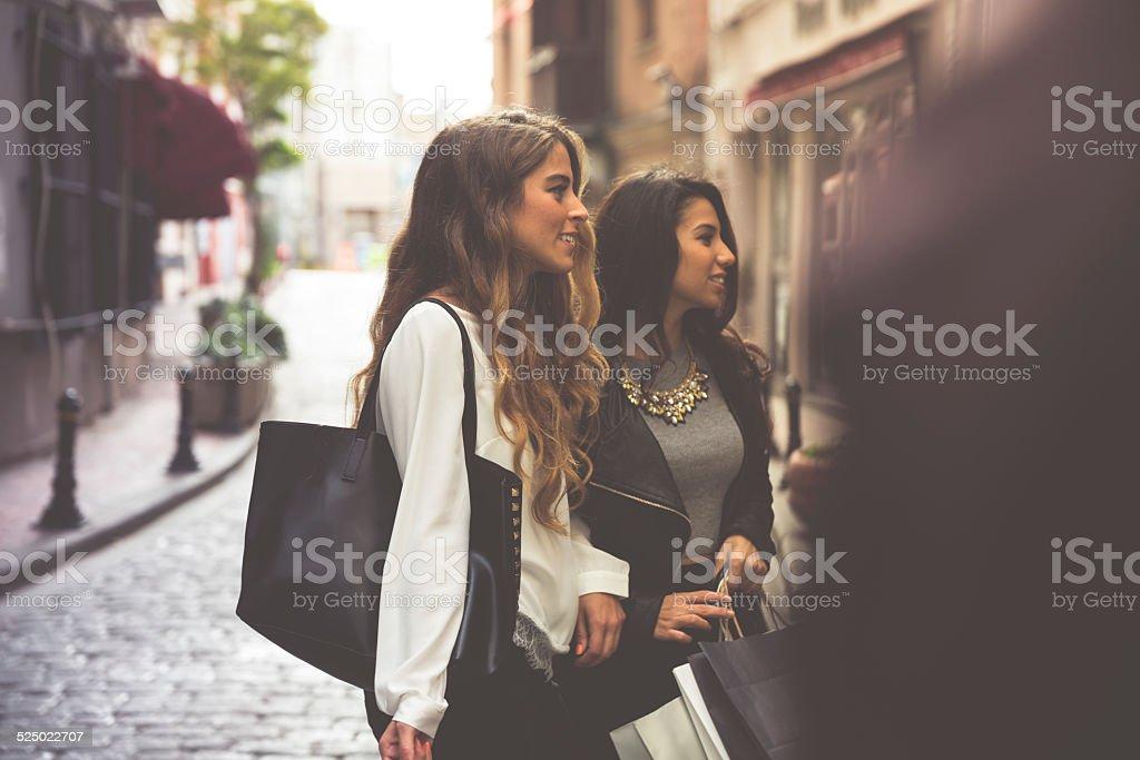 Two Women Shopping stock photo