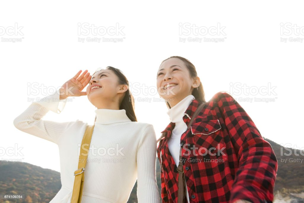 Two women sightseeing royalty-free stock photo