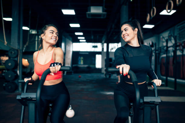 Two women training stock photo