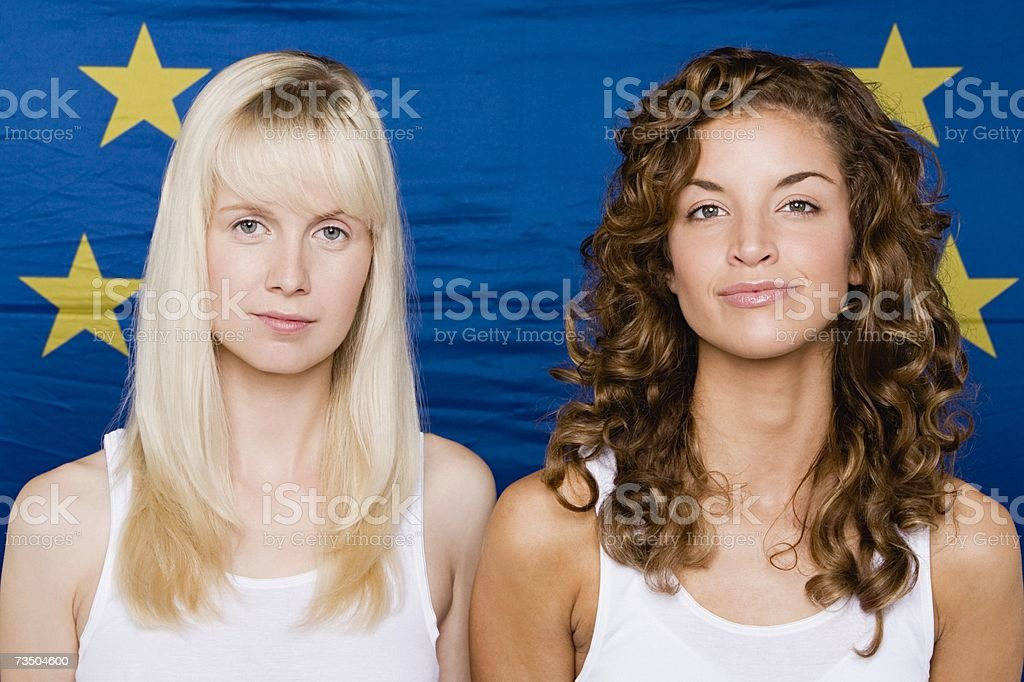 Two women with the european community flag royalty-free stock photo