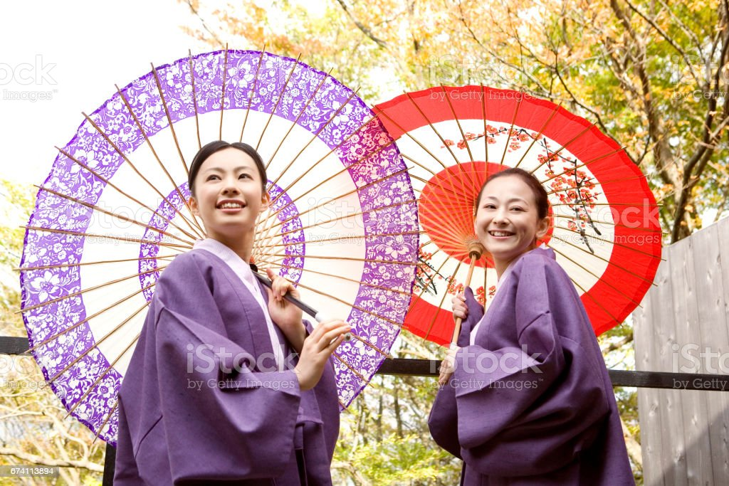 Two women with the wagasa royalty-free stock photo
