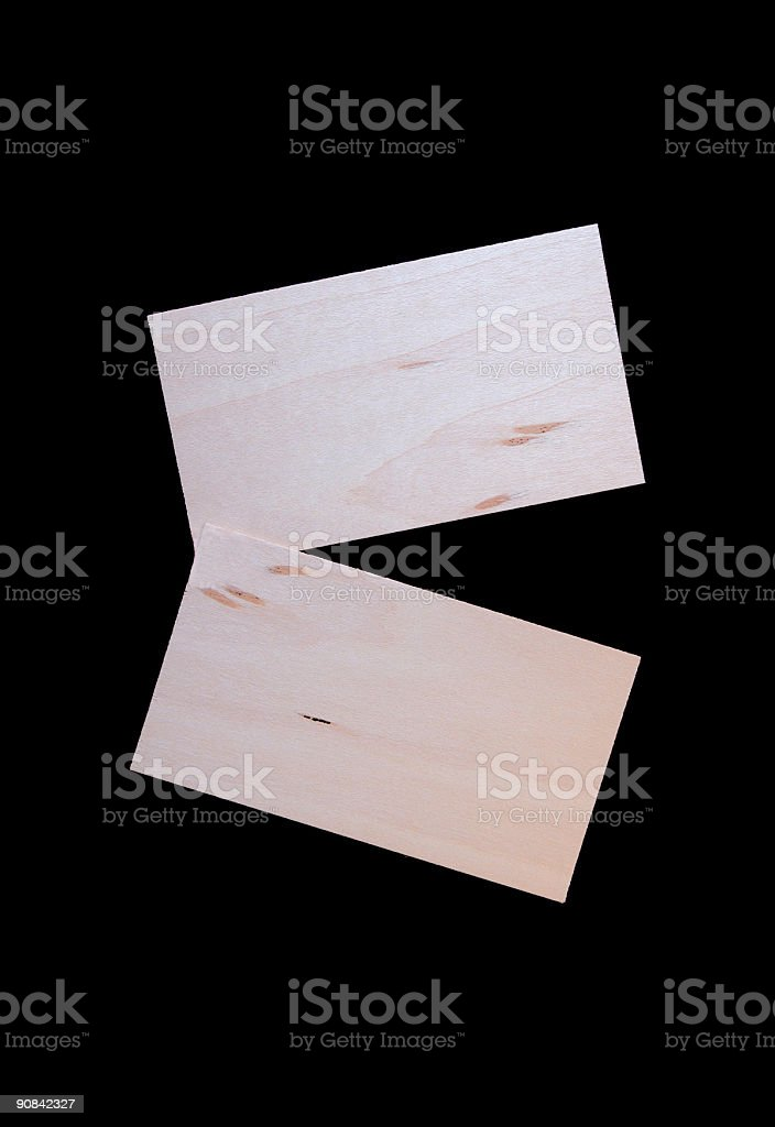 Two Wood Cards Isolated on Black royalty-free stock photo