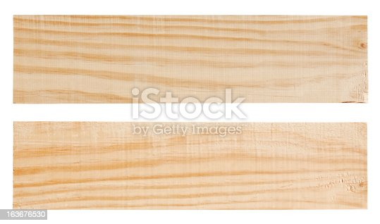 Two wood planks, isolated on white, clipping path included.