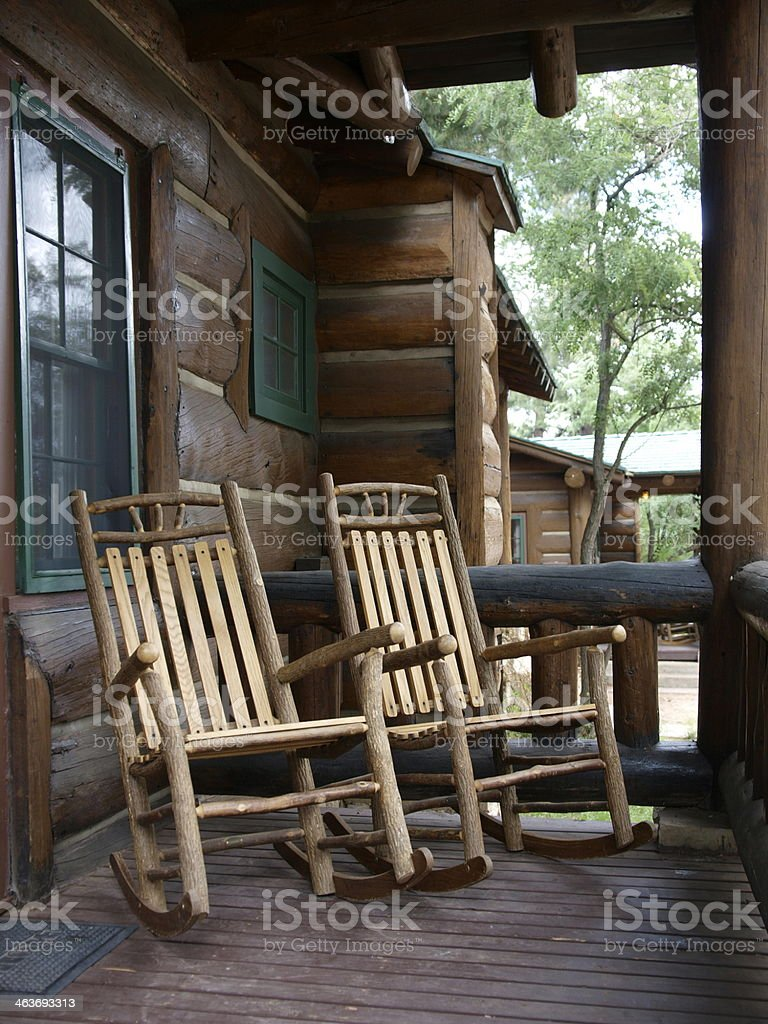 u0027Two Wood Rocking Chairs On Log Cabin Porchu0027 royalty-free stock photo & Two Wood Rocking Chairs On Log Cabin Porch Stock Photo u0026 More ...