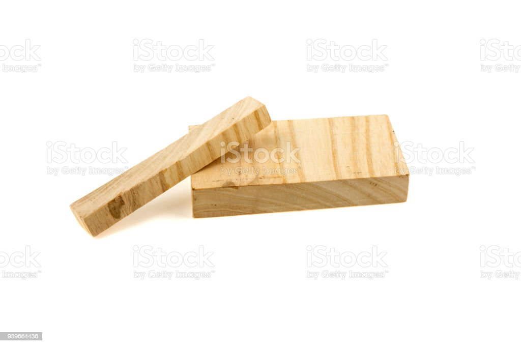 Two wooden boards on a white background stock photo