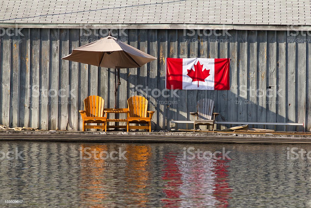 Two wooden chairs and Canadian Flag stock photo
