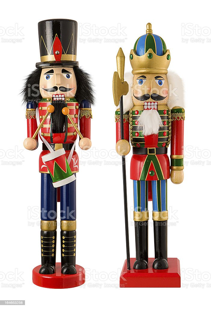 Two Wooden Christmas Nutcrackers Isolated royalty-free stock photo
