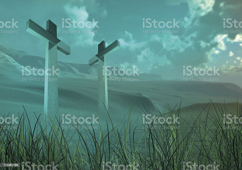 Two wooden crosses royalty-free stock photo