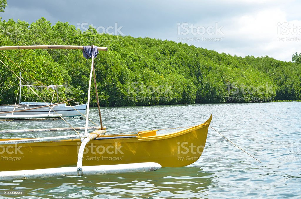Two wooden fishing boats stock photo