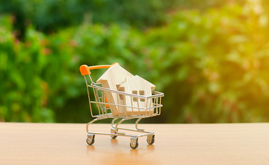 831745600 istock photo Two wooden houses in a trading cart on nature background. Attractive investing. rising prices. supply and demand, rates of sales. The concept of buying and selling real estate, renting. 1162405453