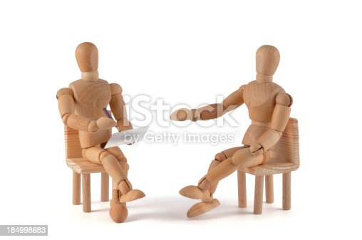wooden mannequin - talking in therapie? Psychotherapie? pair therapy? job? meeting? be creative too.