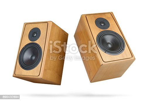 istock Two wooden speakers isolated on white background. File contains a path to isolation. 895432894