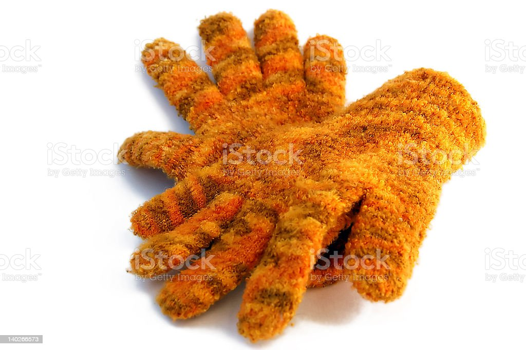 two woolly gloves isolated royalty-free stock photo