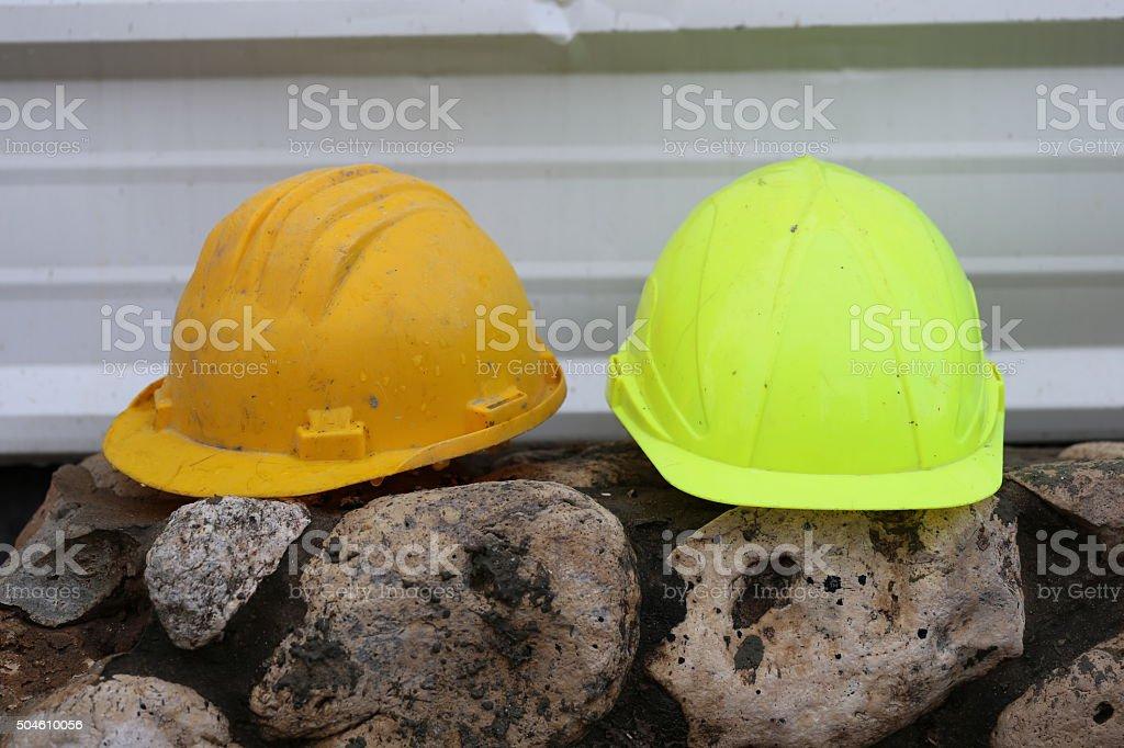 Two Work Helmets stock photo