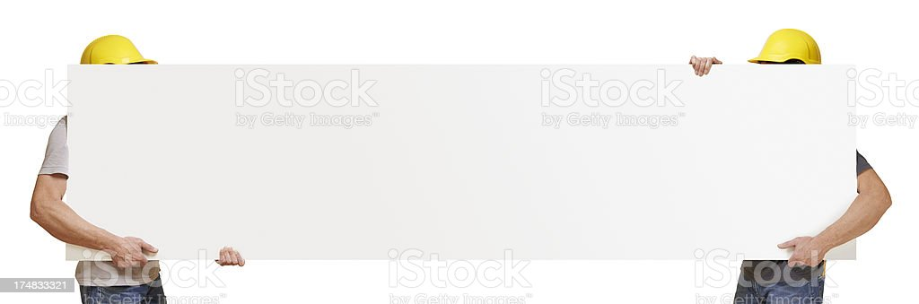 Two worker holding blank placard royalty-free stock photo