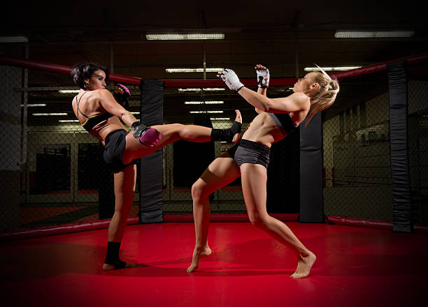 two wrestler women - karate stock photos and pictures