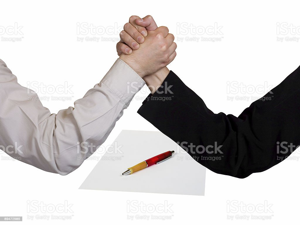 Two wrestling hands and contract royalty-free stock photo