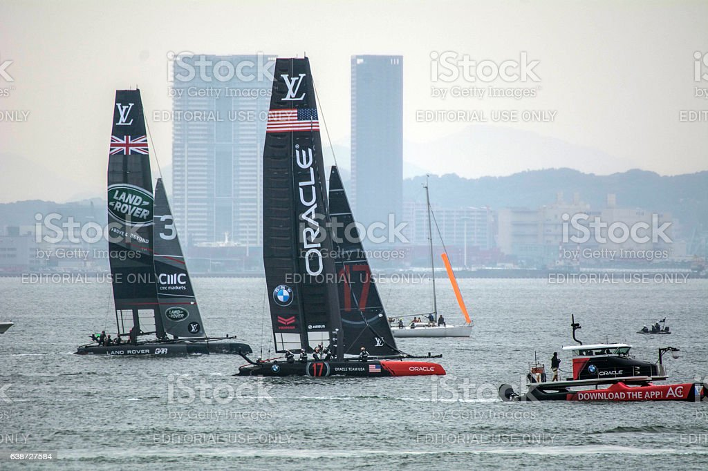 Two yachts are sailing stock photo